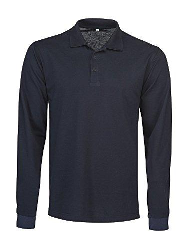 James Harvest Herren Langarmshirt, Einfarbig Blau Blau Medium Navy