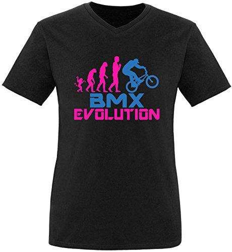 EZYshirt® BMX Evolution Herren V-Neck T-Shirt Schwarz/Pink/Blau