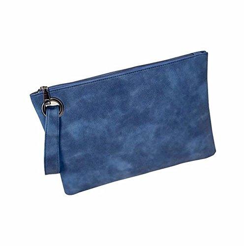Longra Donna Borsa a busta le retro semplice Blu