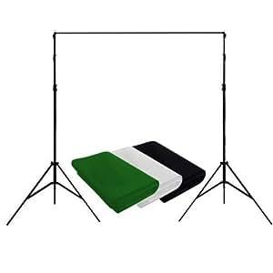 Amzdeal® Toile tissu de fondToile de fond pliant Non-tissé pour Photographie studio photo Noir/Blanc/Vert -1.6m×3m