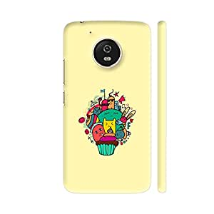Colorpur Moto G5 Cover - Doodle Cartoons On Cream Printed Back Case