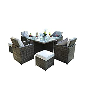 Direct Wicker Garden Patio Cube Set – Four Seats with 4 Footstools and Cushions-Brown
