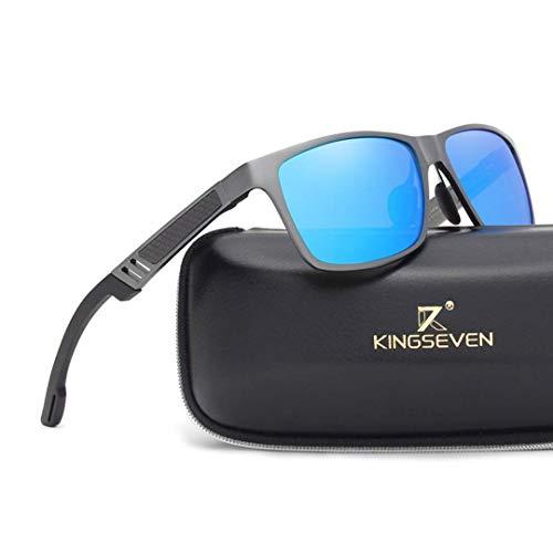 Kingseven Carbon Wayfarer Sonnenbrille (Silber, Blau)