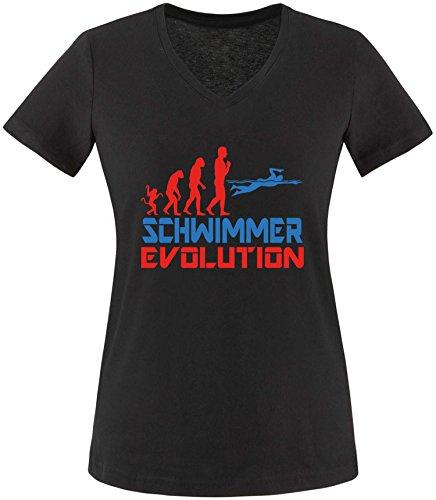 EZYshirt® Schwimmer Evolution Damen V-Neck T-Shirt Schwarz/Rot/Blau