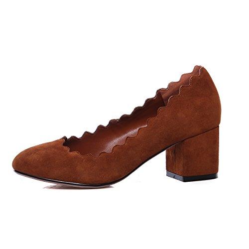 WSS chaussures à talon haut Chaussures de haut talon épaisse avec tête ronde peu profonde haut de gamme princesse douce dentelle Chaussures en cuir pour femmes confort 2