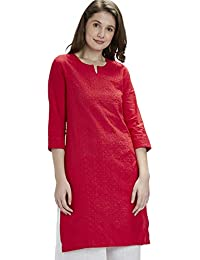 SRISHTI By FBB Women's V-Neck Viscose Embroidered Kurta (X-Large, Red, LECK-4201-CPEK-42-A-SLD-KTF, XL, RED)