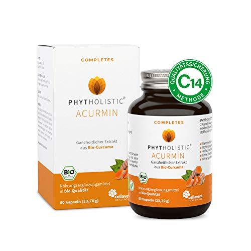 BIO Kurkuma Kapseln (Curcuma) Phytholistic: rein natürlich aus der Curcuma-Wurzel, vegan: OHNE Bioperin/Piperin/Pfeffer - 60 Kapseln hochdosiertes Curcumin von Cellavent Healthcare