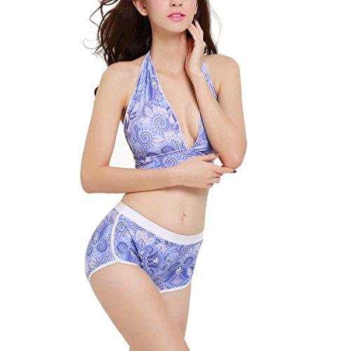 Zwei Stück Typ Badeanzug für Frauen Bunt Blue