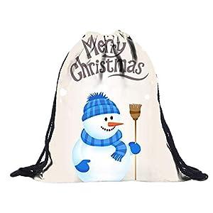 Longzjhd Unisex Rucksack Schneemann Umhängetasche Freizeit Kordelzug Reise Kordel Tasche Muster, Oxford Kordelzug Turnbeutel Tasche Rucksack Drawstring Backpack Elch Weihnachten