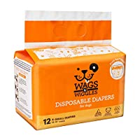 "Wags & Wiggles Female Dog Diapers | Doggie Diapers for Female Dogs | X-Small Dog Diapers, 12""-15"" Waist - 12 Pack"