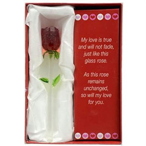 Forever Glass Rose with Poem ~ Valentines Day or Special Occasion ~ Say I Love You with this Handmade Glass Roses with Love Poems 5
