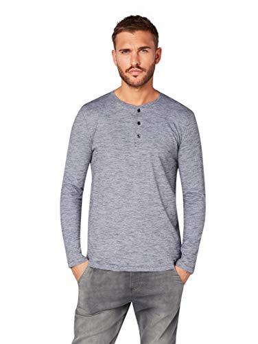 TOM TAILOR Denim T-Shirts/Tops Henley Langarmshirt mit Streifenmuster Yarn Dye Stripe Black, M -