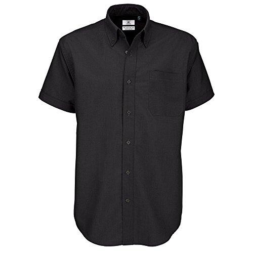B&C Oxford Hemd für Männer, kurzarm (XL) (Schwarz) XL,Schwarz Herren Oxford