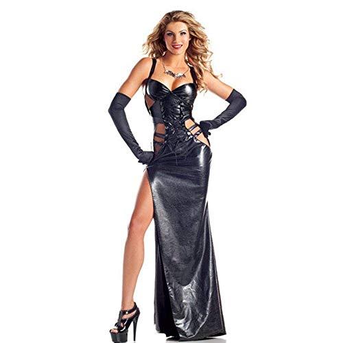Fashion-Cos1 Leder Schwarz Dark Devil Fallen Angel Kostüm Erwachsene Halloween Kostüme für Frauen Gothic Hexenkostüm (Color : Black) (Fallen Angel Halloween Kostüme)