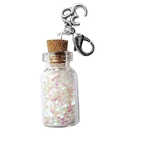 SPIRIT OF AVALON – Kette mit Anhänger Fläschchen / Flasche / Miniblings mit Sternenstaub Stardust Feenstaub (Platin Inner Ring)