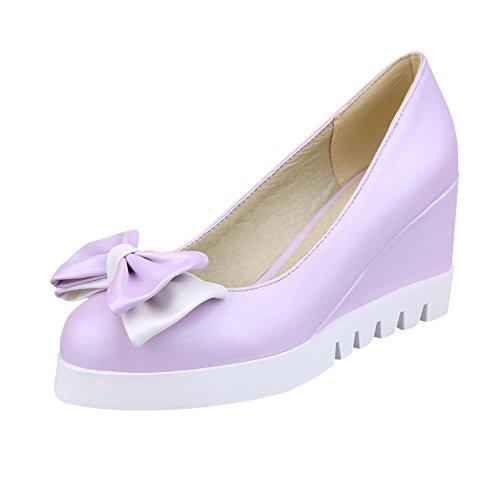 Mee Shoes Damen süß modern bequem frisch Geschlossen ohne Verschluss Keilabsatz mit Schleife Blockabsatz Plateau Pumps Lila