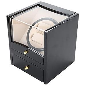 Schwarz Uhrenbeweger/Uhrendreher/Uhrenbox für 2 x Automatikuhr ,Automatische Rotationsuhrbox Displaybox 18,3 * 18 * 21 cm