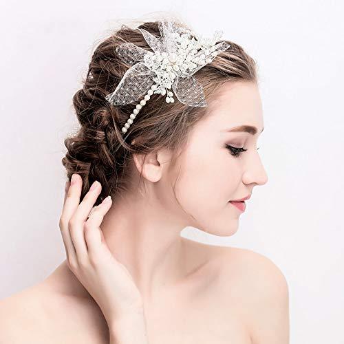 ge Stirnband Tiara, Hochzeitskleid Zubehör, Brautschmuck Elegante koreanische Neue Art weißes Garn, Blume, Perle Stirnband Krone,White ()