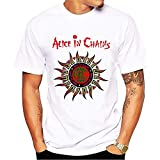 Photo de New Men's Letter Casual T-Shirts Alice in Chains Sun Printing Short Sleeve White Cotton T Shirt Brand Tees & Tops par Ant