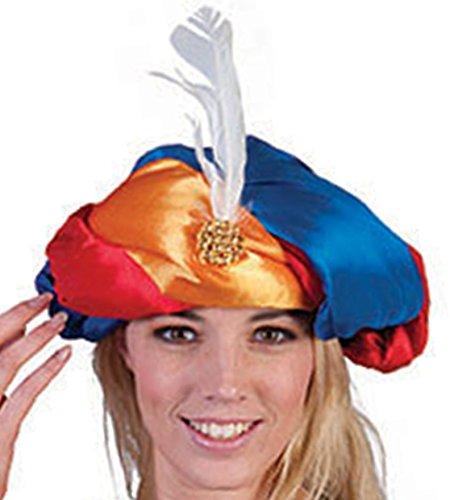 Halloweenia - Orientalsiche Kopfbedeckung Turban Kleiner Muck 1000 und eine Nacht- satinartig mit Federschmuck, (Pirat Turban)