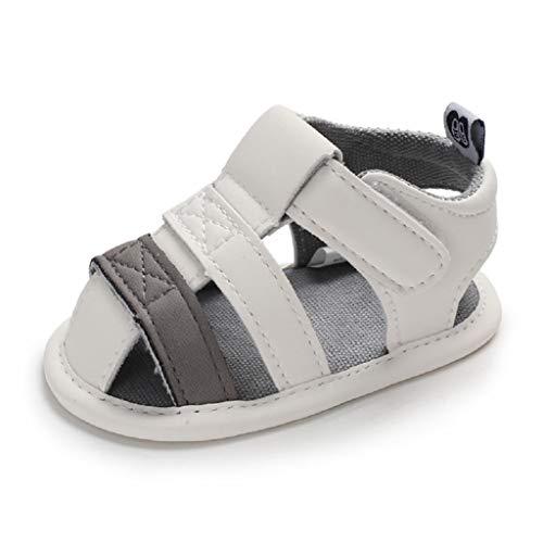 Auxma Baby Jungen Sommer Sandalen, Baby erste Wanderschuhe für 0-6 6-12 12-18 Monate (19 EU, Weiß)