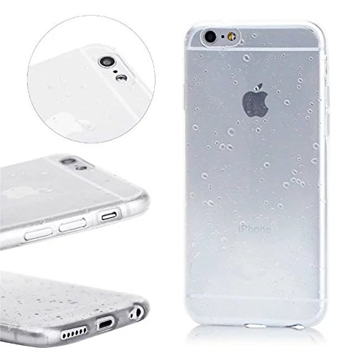 MOMDAD iPhone SE Blanc Coque iPhone 5 5S Transparent Coque iPhone 5 5S SE TPU Silicone Housse iPhone 5 5S SE Souple Case Cover Ultra-Slim avec Fonction Bouchon Anti-poussière pour iPhone 5 5S SE Etui  Raindrop-Blanc