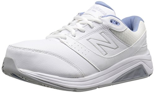 New Balance WW928 Femmes Cuir Baskets, White/Blue, 36.5 EU