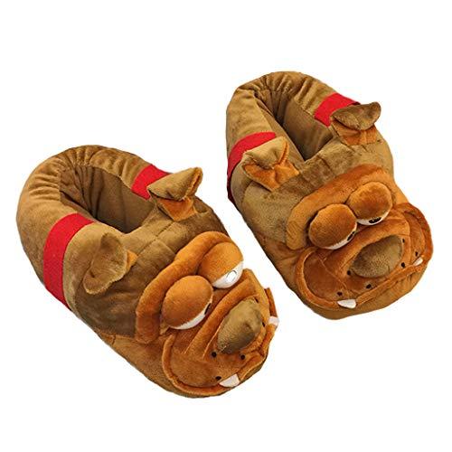 RHSMP Niedlichen Hund Baumwolle Hausschuhe pelzigen warme Baumwolle Schuhe Universalgröße Weihnachtsfeier geeignet für Cosplay Indoor Schuhe Frauen lustige Neuheit Geschenk -