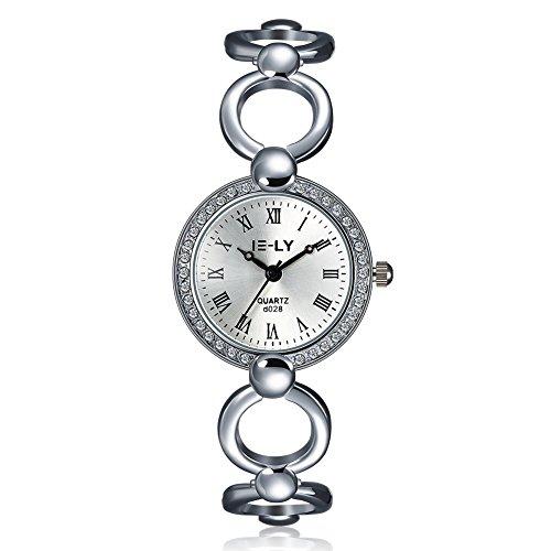 iLove EU Damen Armbanduhr Strass Römische Ziffern Runde Zifferblatt Silber Legierung Band Analog Quarz Uhr Hohle Openwork Charm