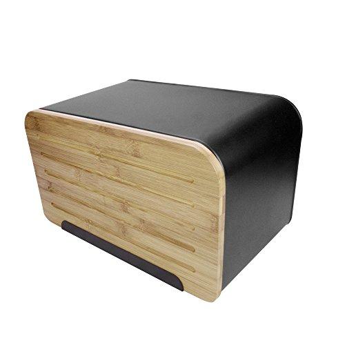 Brotkasten Brotbox Brottrommel, mit Bambusdeckel/Schneidbrett, Front-Lader, Öffnung vorne, Metall/Bambus, ca. 35 x 21.5 x 20.5 cm, mattschwarz