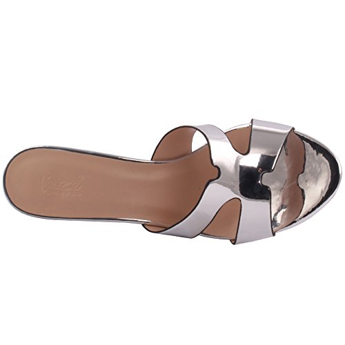 Unze Femmes 'Smith' Glittery Strappy Faible Moyenne Haute Talon Party Prom Get Together Brunch Carnaval Mariage Soirée Sandales Talons Chaussures Uk Taille 3-8 Argent