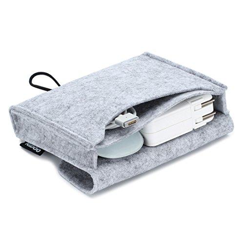 Nidoo Filz Lagerung Beutel Tasche Fall Case für Zubehör ( Maus, Handy, Kabel, SSD, HDD Gehäuse, Power Bank und mehr ) - 6.3 Zoll, grau (Laptops Power Bank)