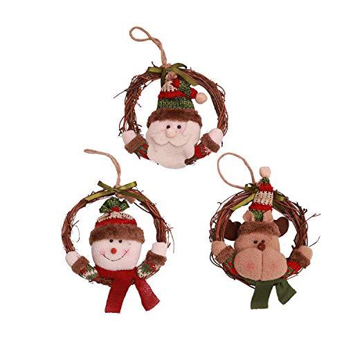 Wohlstand 3 Pcs Adornos Colgantes de Árbol de Navidad Accesorios Decorativos Redondos con Santa,Renos y Muñecos de Nieve Decoraciones para Árbol de Navidad,para Árbol Casa Puerta