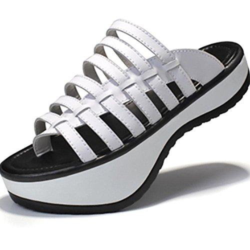 SHANGXIAN Womens Skeleton Style Traitement de la colonne vertébrale lombaire Round-toe Platform Talons Chaussures Chaussures orthodontiques white