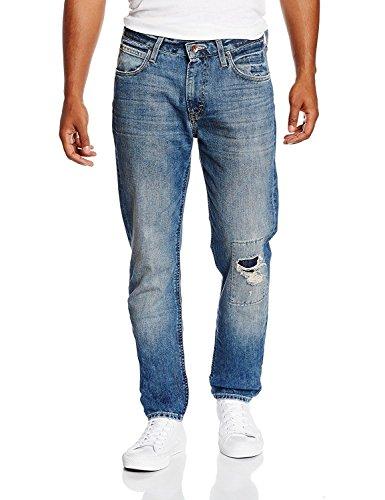 Lee Jeans, Arvin, Regular Fit, Tapered Leg, W33/L32, Blast Blue, Vintage & Destroyed, 33/32 (Blast Jeans Denim)