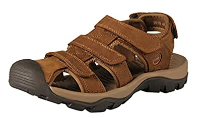 iLoveSIA Mens Athletic and Outdoor Leather Sandals Light Brown UK 7 (Lable 41)