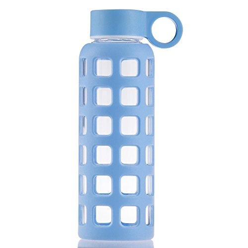 Blau Glas-trinkflasche (Reeho® Sportflasche Trinkflasche aus Glas, BPA-frei Wasserflasche Glas, Borosilikat Glasflasche Mit Silikonhülle (Blau, 660ml))