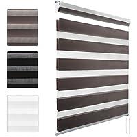 KINLO 90*150CM Estor enrollables opaco translúcidos(Estor doble enrollable),La luz se puede ajustar mediante la dislocación de tela y hilo,para ventanas de oficina/estar/dormitorio,color:Marrón oscuro