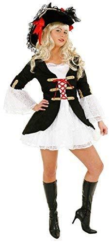 Fancy Me Damen Sexy Pirat Kapität Schiffskamerad TV Buch Film Halloween Party Spaß Kostüm Kleid Outfit UK 8-16 - Schwarz, UK 14 (EU 42)
