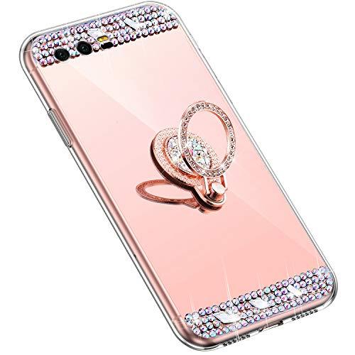 Uposao Kompatibel mit Huawei Honor 9 Handyhülle Strass Diamant Kristall Bling Glitzer Glänzend Spiegel Schutzhülle Mirror Case Silikon Hülle Tasche mit Ring Halter Ständer,Rose Gold