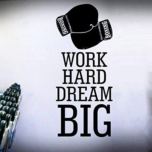 ljradj Hart Arbeiten Traum Große Boxhandschuhe Entfernbare Wandaufkleber Für Fitness Sportraum Hintergrund Vinyl Wandtattoos Kunst Wandbilder schwarz 57X143 cm