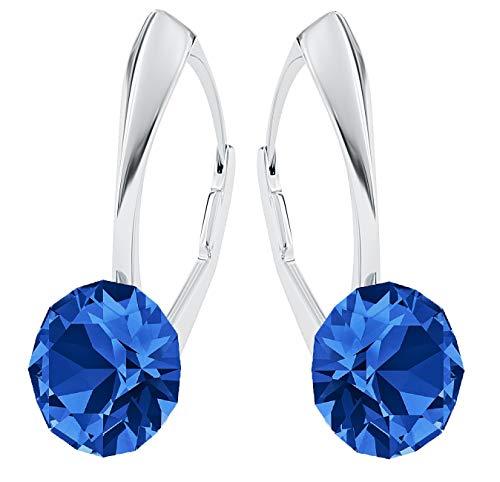 **Beforya Paris** *IMPECCABLE BRILLANTS* Silber 925 *Viele Farben* - Ohrringe mit Kristallen von Swarovski® - Schön Ohrringe Damen Ohrhänger - Wunderbare Ohrringe mit Schmuckbox (Sapphire)