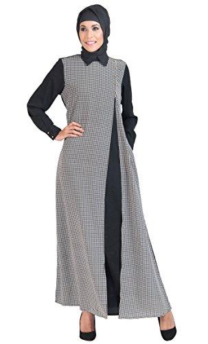 East Essence - Robe - À Carreaux - Femme Multicolore - Noir et blanc