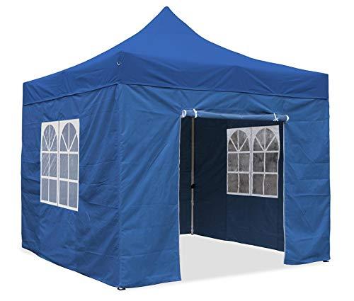 Premium Garten Falt Pavillion Party Zelt mit 4 Seitenwänden 2 Fenster 3x3m blau