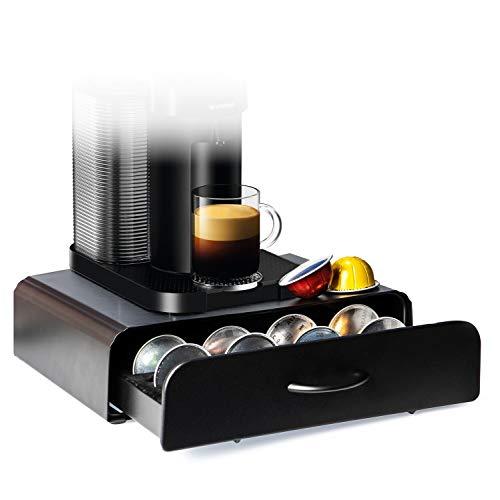 Home Treats Vertuo - Soporte para cápsulas de café 20 Cápsulas Vertuoline Cafetera Cajón Carbono Negro