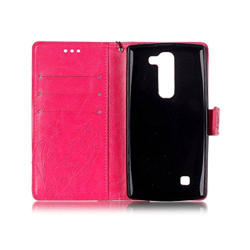 Camiter Prägung Schmetterling Wallet Case Schutzhülle Standfunktion Handytasche Hülle Magnetverschluss Klapp Brieftasche Lederhülle Weich Silikon Skin Back Cover für Apple iPhone 4 /4S (Gold) + Freies Rose