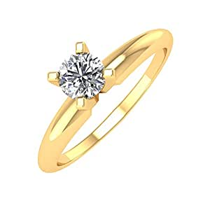 242ef46d89c08 IGI Certified 14k Yellow Gold Solitaire Diamond Engagement Ring Band (1 4  Carat)