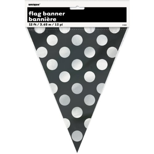 Preisvergleich Produktbild Flag Banner 12'-Midnight Black Decorative Dots