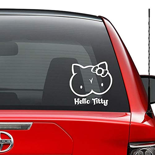 JIXIAN Hello Kitty Titty Divertente JDM giapponese vinile Die-Cut Decal Sticker per Windows Wall Decor Car Truck Veicolo Moto Casco Laptop e altro - Dimensioni (06 pollici / 15 cm di altezza) / (Color