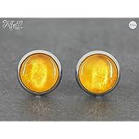 Ohrstecker Edelstahl * Cabochon - Muster orange - 10 mm